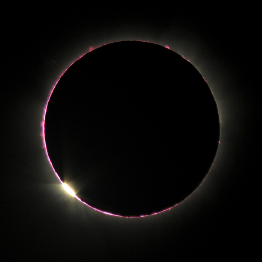 Solar chromosphere and diamond ring near totality