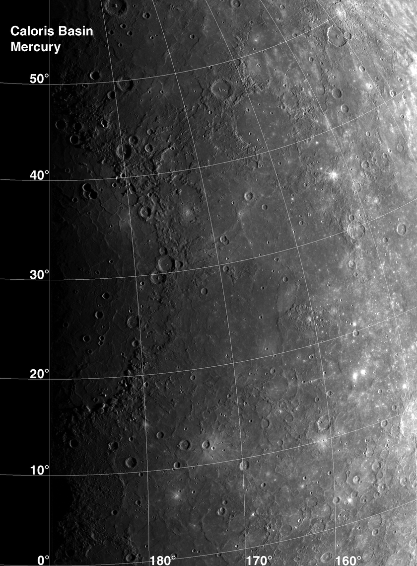 Caloris Basin, Mercury, as seen by Mariner 10