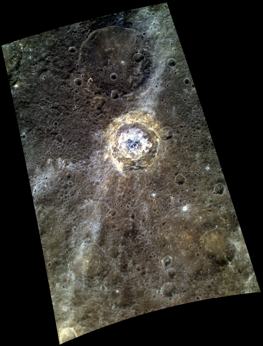 High resolution color view of de Graft Crater, Mercury