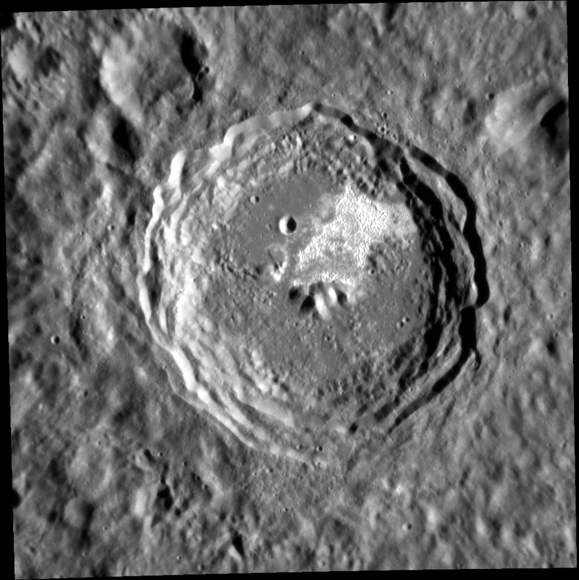 Theophanes crater, Mercury: scarps and hollows