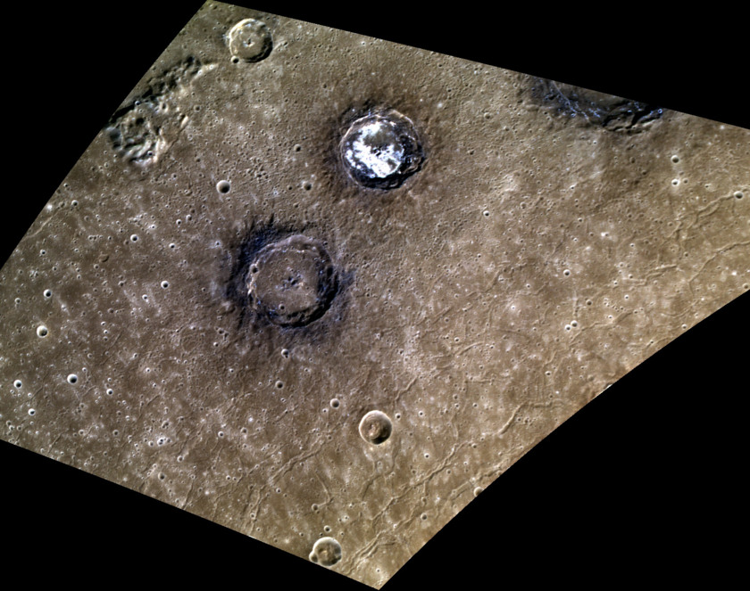 Colorful Sander and Munch craters in the Caloris basin, Mercury