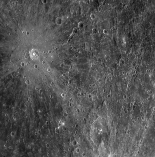 Fresh rayed crater on Mercury