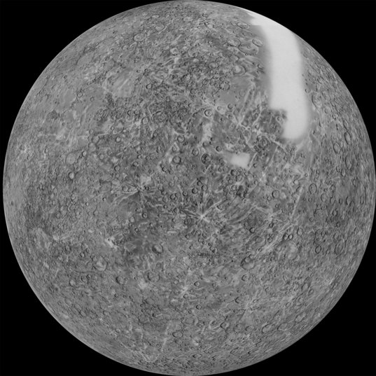 Mariner 10 map of Mercury