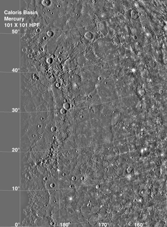 Mercury's Caloris Basin (high-pass filtered)