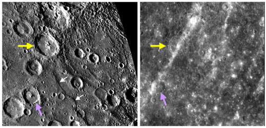 Different sun angle reveals different features of Mercury