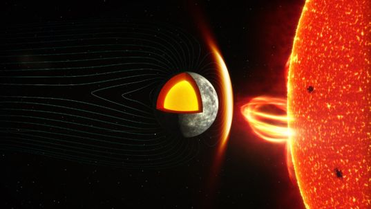 Artist's concept of Mercury's magnetosphere and the Sun