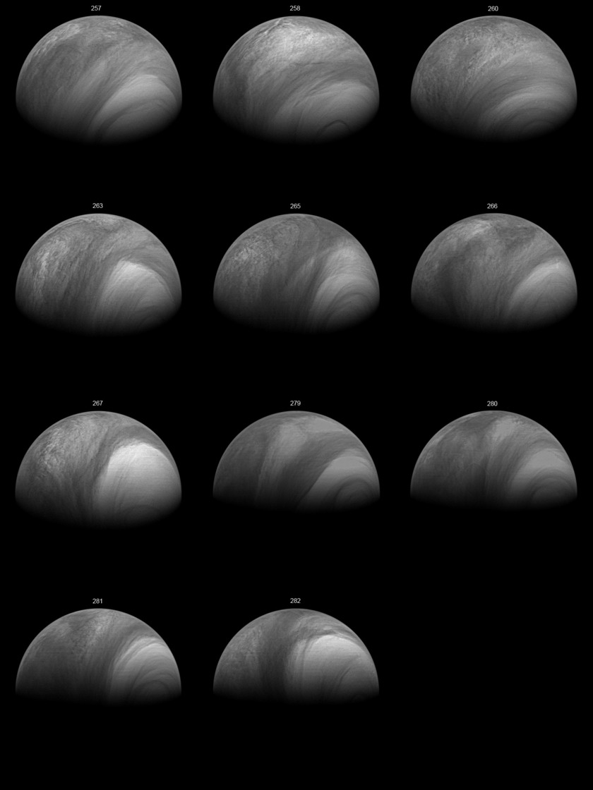 Changes in Venus' south pole over time