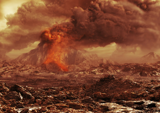 Artist's conception of volcanoes erupting on Venus