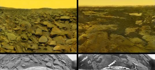 Rectified vs. original Venera 9 and 10 panoramas (colorized)