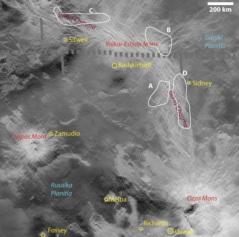 Ganis chasmata, Venus: Site of active volcanism? (annotated)
