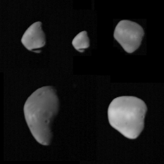 Five views of Deimos from Mariner 9