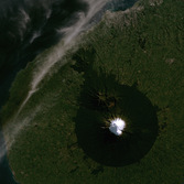 Mount Taranaki, a stratovolcano in New Zealand, from Landsat
