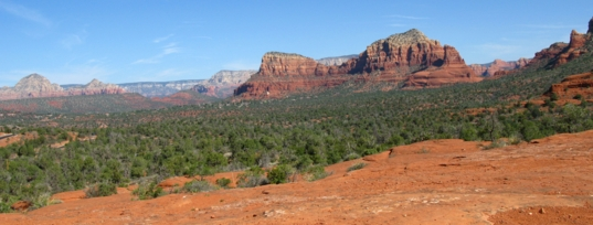 A view of the layered buttes and mesas near Sedona