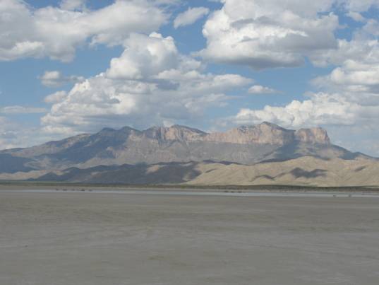 A view of the Guadalupe Mountains from the salt flat