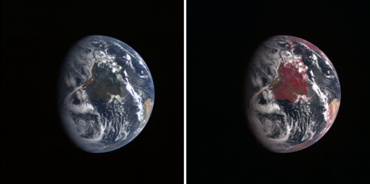 Earth in visible and near-infrared wavelengths