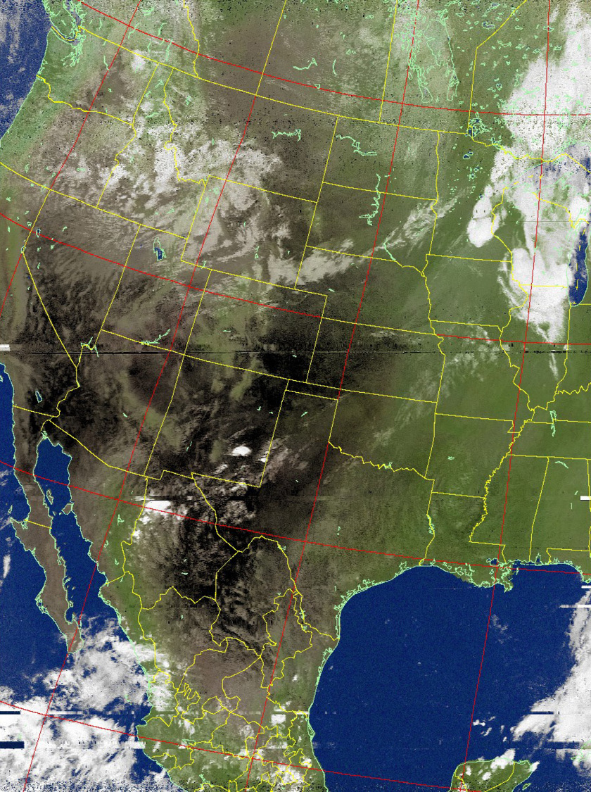 United States from NOAA 19 (colorized with map overlay)