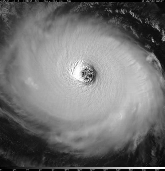 Hurricane Isabel's pentagonal eye