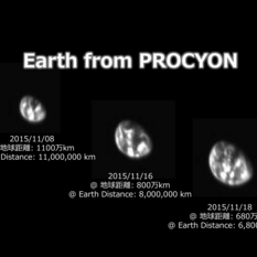 Three views of Earth from PROCYON