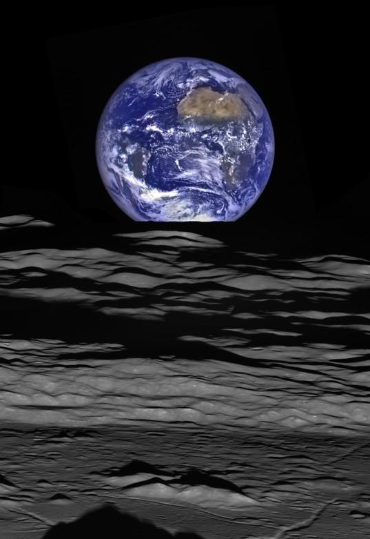 Earth over the lunar limb from Lunar Reconnaissance Orbiter