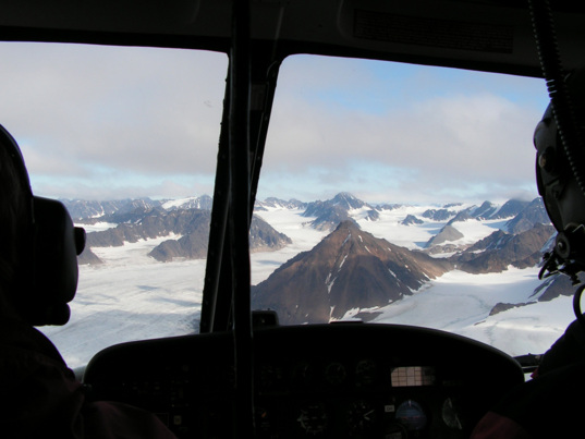 A view from the landscape while flying by helicopter
