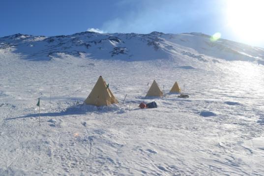 Tents on Fang Glacier