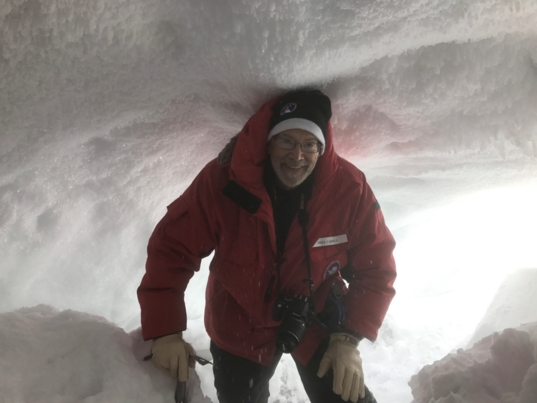 Michael Carroll in an Antarctic cave