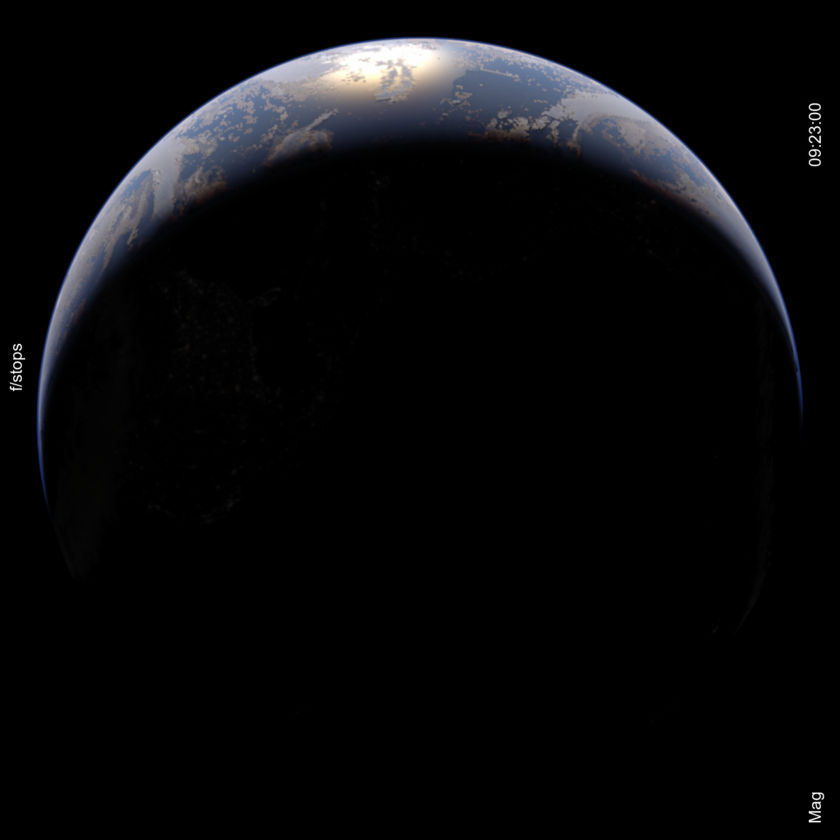 Simulated crescent Earth