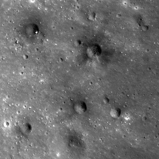 Dark secondary crater cluster on the Moon (detail view)