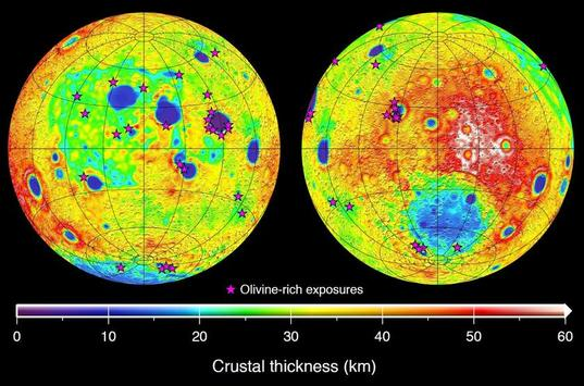 Map of the Moon's crustal thickness inferred from GRAIL gravity data
