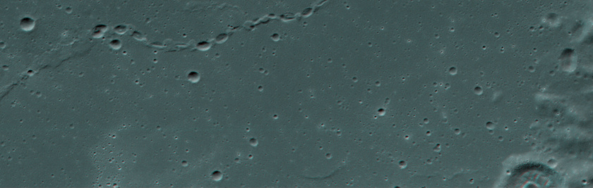Red-blue anaglyph of a chain of lunar craters