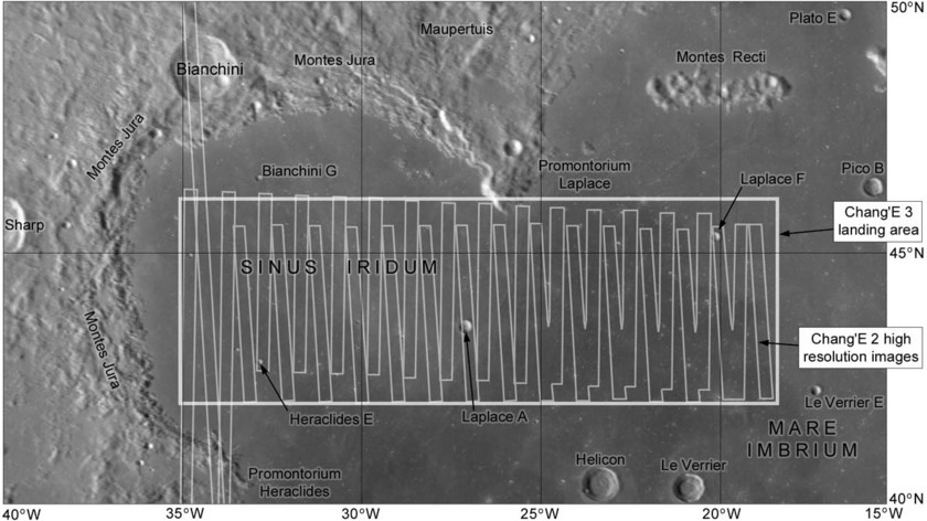 Chang'e 2 high-resolution image coverage of Chang'e 3 landing area in Sinus Iridum