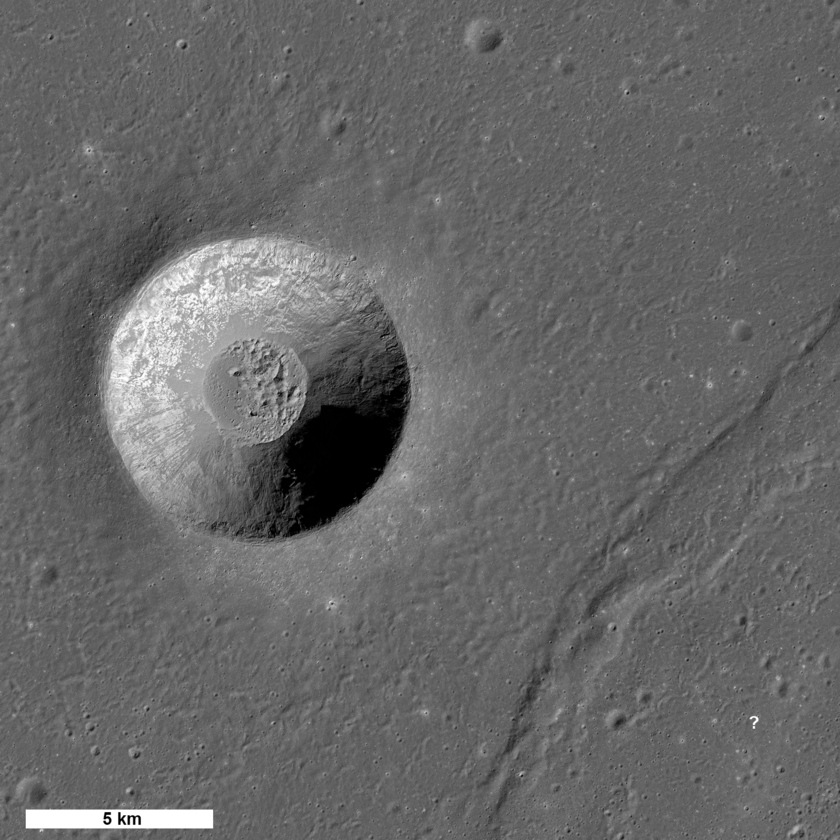 Laplace A crater and a nearby wrinkle ridge (possible Chang'e 3 landing site)