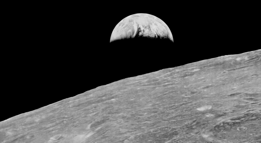 Earthrise from Lunar Orbiter 1