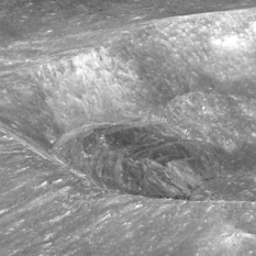 Oblique view of Larmor Q crater on the Moon