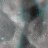 Crater Chain Near Lunar Crater Love (Anaglyph)
