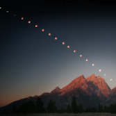 Lunar eclipse over the Grand Tetons