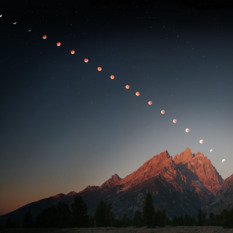Lunar eclipse over the Grand Tetons