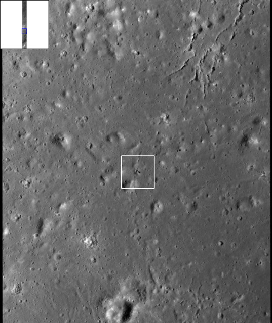 Locator map for image of natural bridge on the Moon