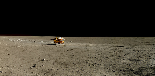 Chang'e 3 lander in the distance