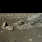 Yutu rover view of Pyramid Rock (Long Yan)