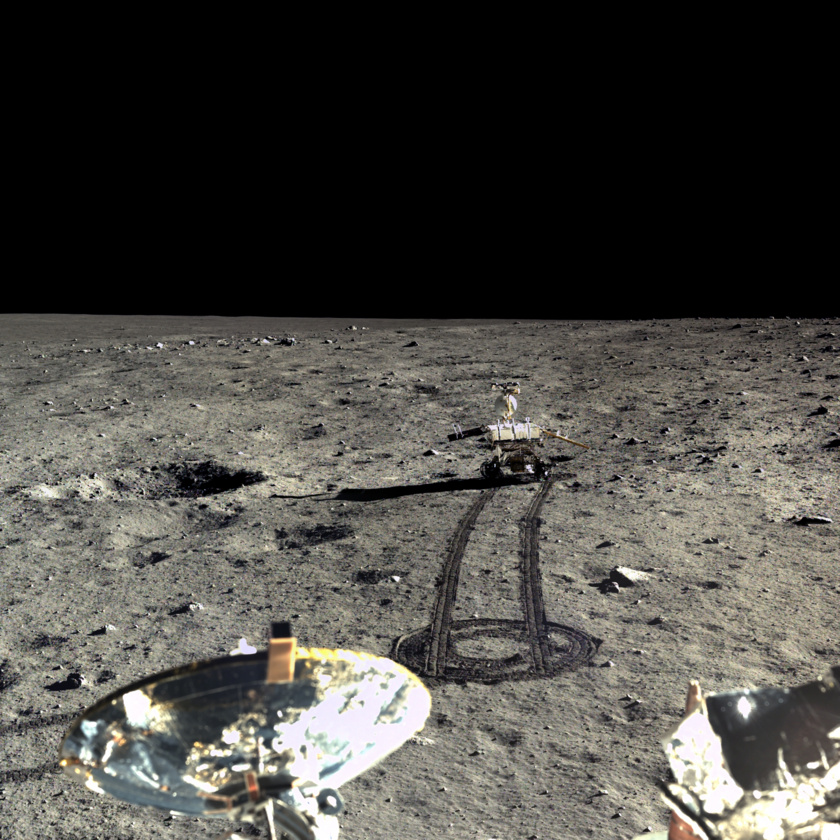 Yutu on the road  The Chang'e 3 lander captured the four images for this mosaic of the Yutu rover driving southward on December 23, 2013. Yutu's right solar panel is angled downward to catch the glancing sunlight at a better angle