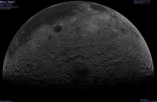 Celestia simulated view of the Moon using Kaguya topographic data