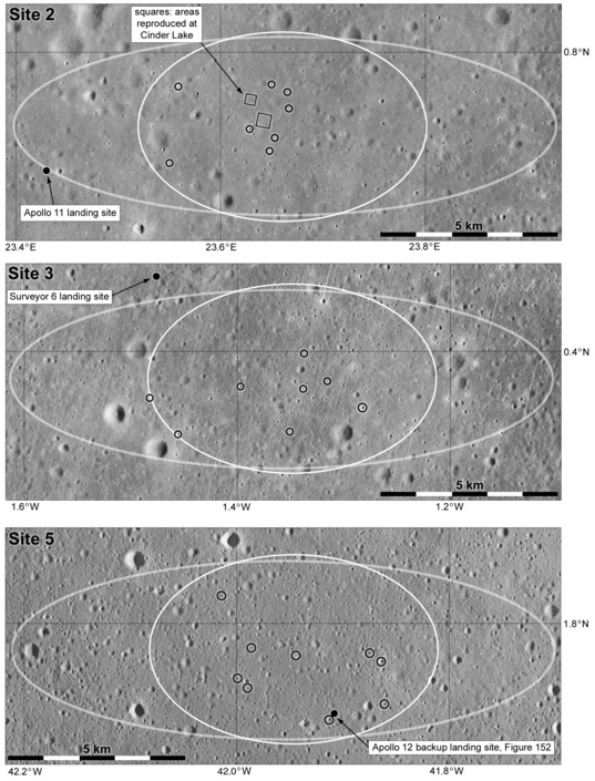 Newell Trask's pinpoint landing targets in Apollo Landing Sites 2, 3 and 5
