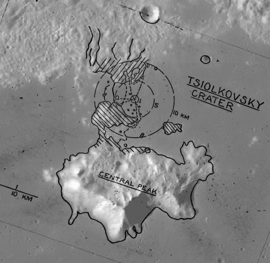 A landing site and EVAs at Tsiolkovsky crater on the far side of the Moon