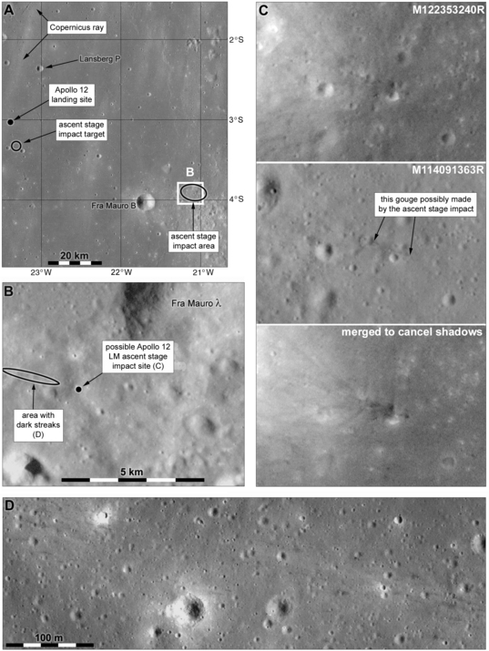 The Apollo 12 LM ascent stage impact site