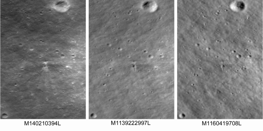 Comparison of the only three LRO images of the impact site
