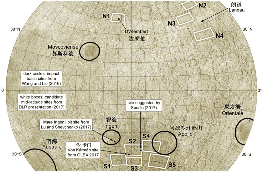 Farside sites considered for Chang'E 4