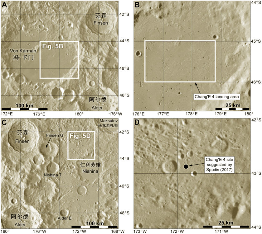 The Von Kármán site for Chang'E 4 and an alternative location suggested by Paul Spudis