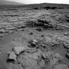 The view from John Klein, Curiosity sol 168 (3D)