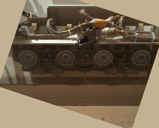 Curiosity's forward Hazard Avoidance Cameras (Hazcams) as seen from MAHLI, sol 34